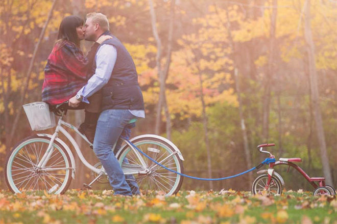 bike and trike pregnancy announcement idea