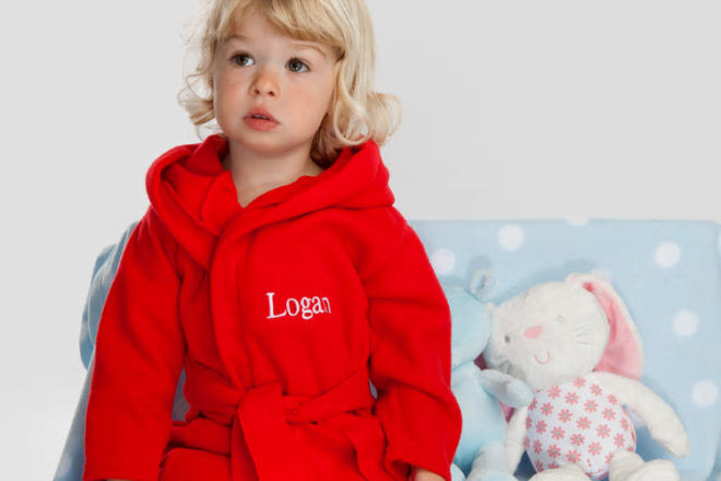 A Type of Design red personalised children's dressing gown
