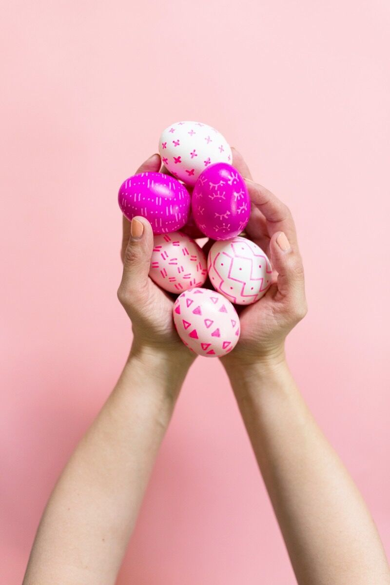Pink sharpie designed easter eggs