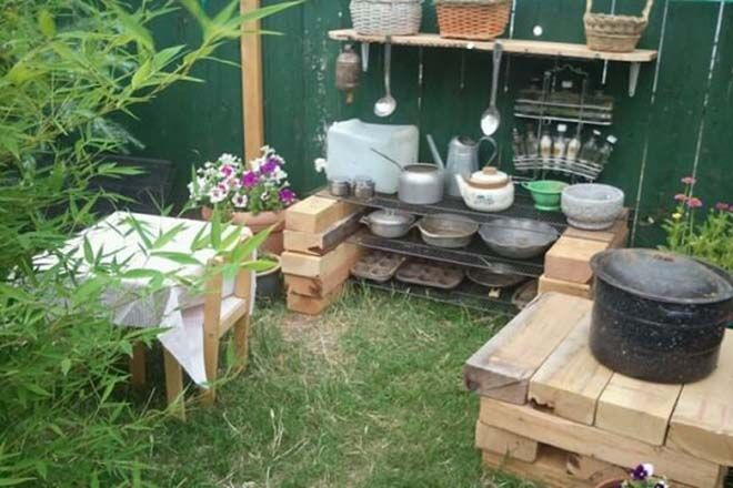 cute outdoor mud kitchen for kids creative play