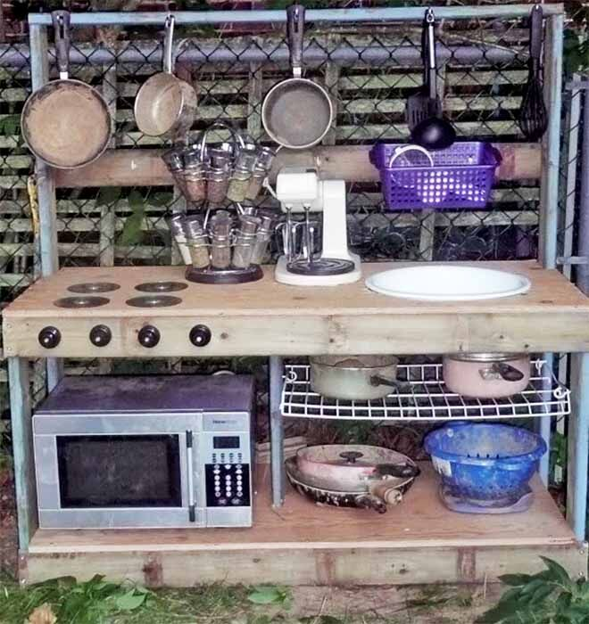backyrd mud kitchen with microwave