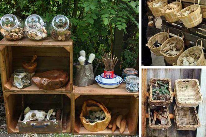 mud kitchen ideas storage baskets