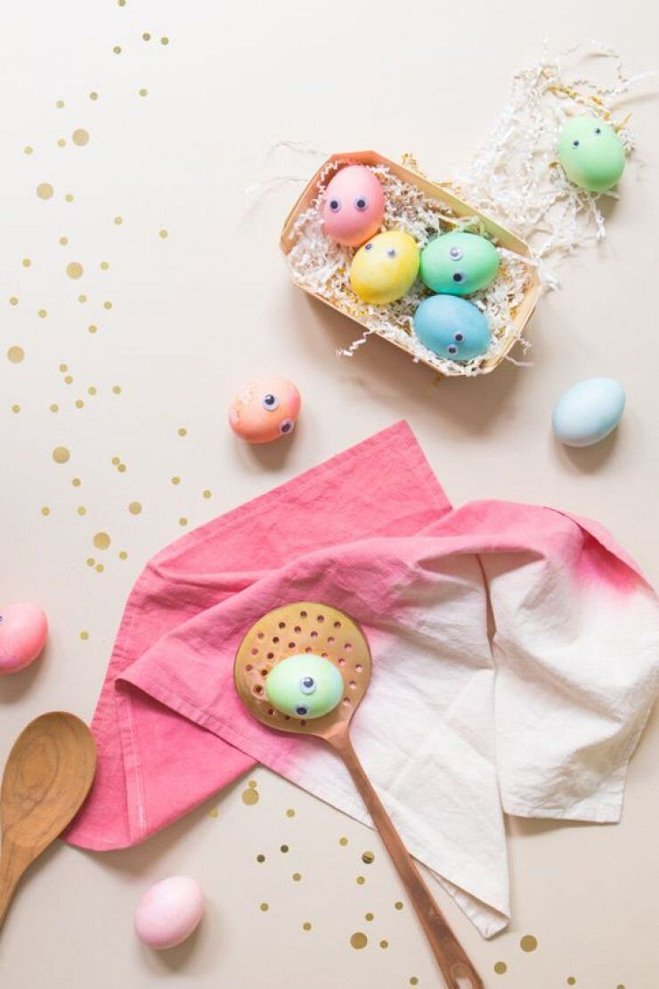 colourful easter eggs with googly eyes