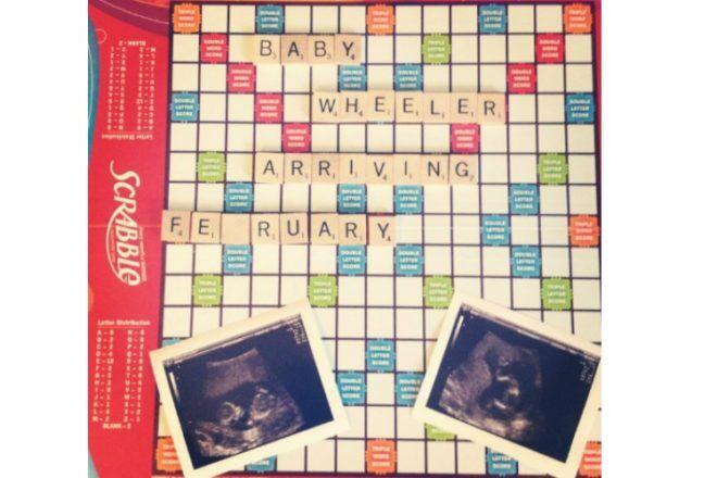 Scrabble board pregnancy announcement ultrasound
