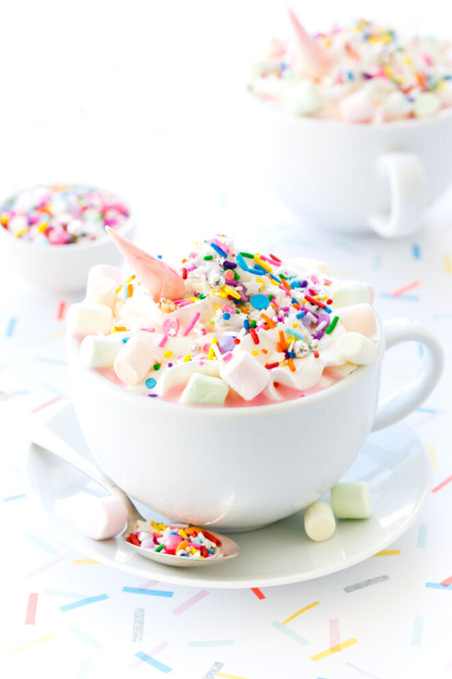 unicorn hot chocolate party drink