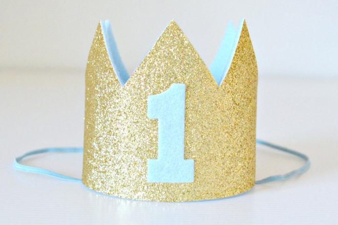 first birthday glitter crown