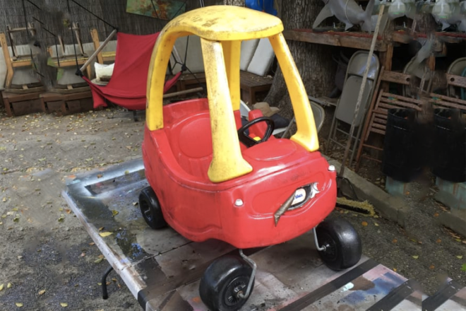 Little Tykes Cosy Coupe turned into Mad Max Car