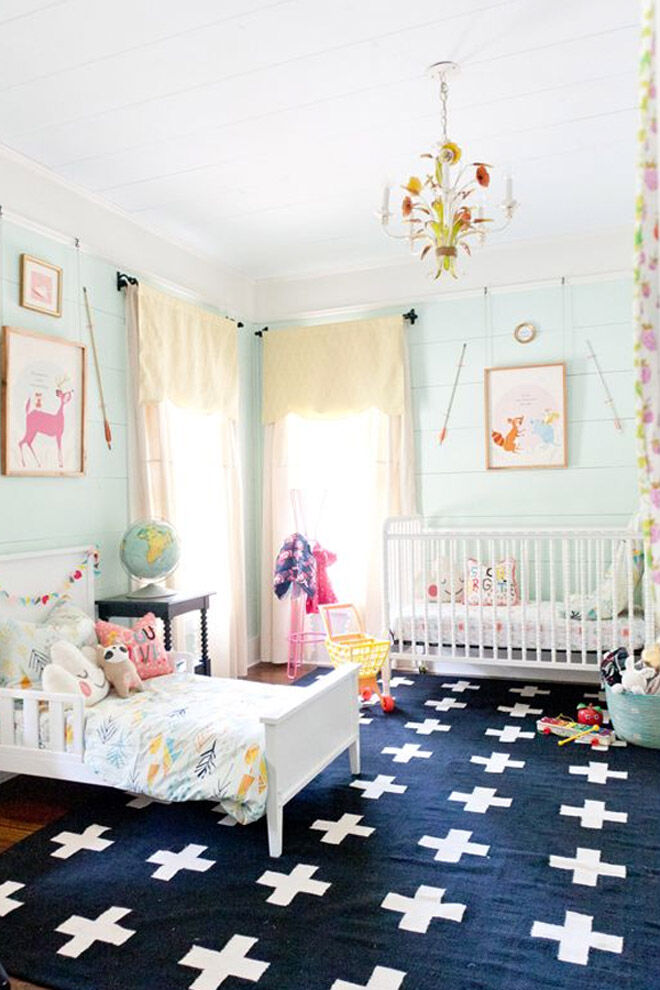 Shared bedroom with baby and toddler