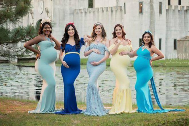Disney princess maternity photo shoot