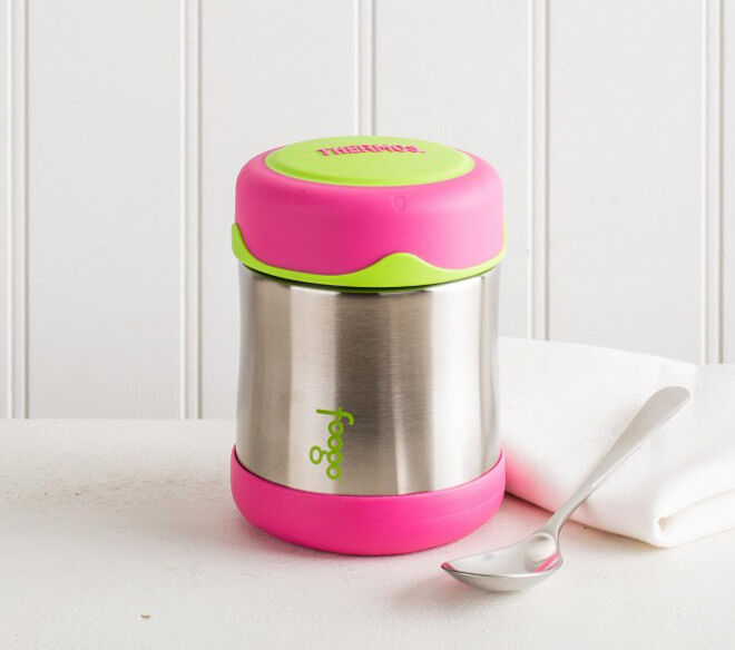 pink small thermos school lunch