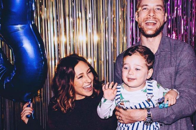 Australian celebrity parents Hamish Blake and Zoe Foster Blake with Sonny