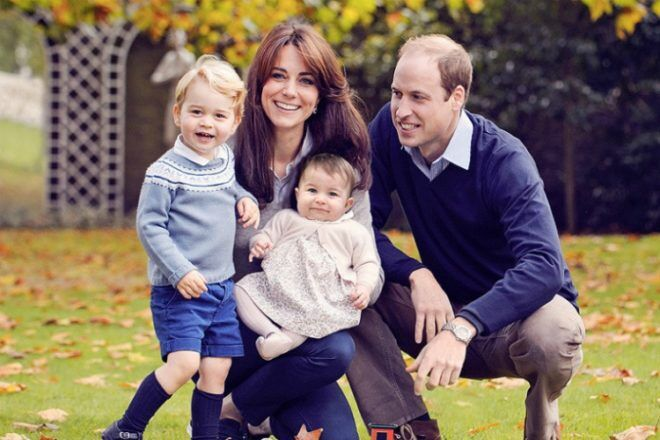 Royal famiuly Duke and Duchess of Cambridge with Princess Charlotte and Prince George