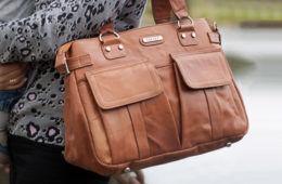 Vanchi Sydney Satchel Leather in Chestnut