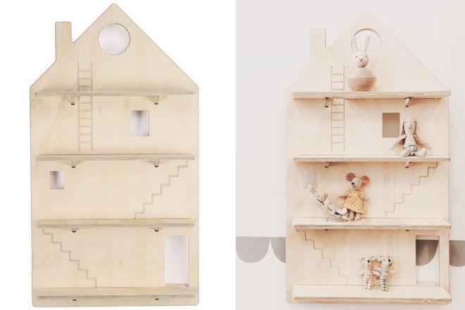 dollhouse shaped wooden shelf shadow board One Two Tree