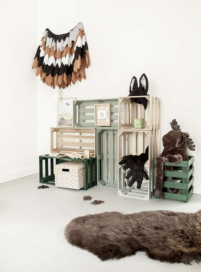 April and May shelving made from crates