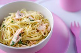 angel hair pasta with salmon kid eats shanai