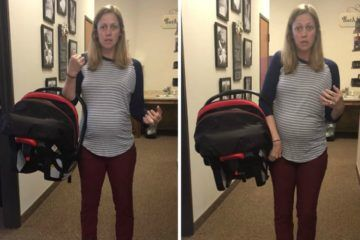 chiropractor demonstrating how to carry baby capsule