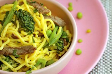 Beef, broccoli and garlic noodles