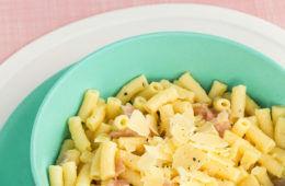 ham and cauliflower Alfredo macaroni