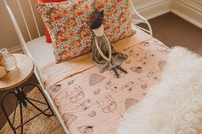 G,Nancy organic cotton cot quilt Oliver Robert Holmes design