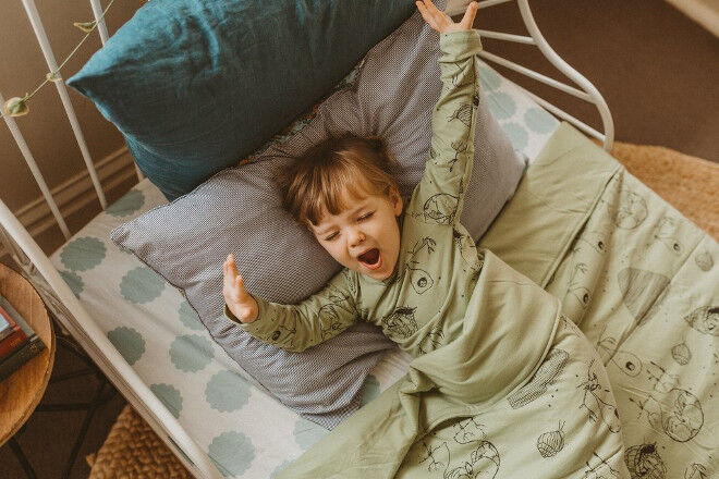 G.Nancy organic cotton toddler bed quilt in avocado