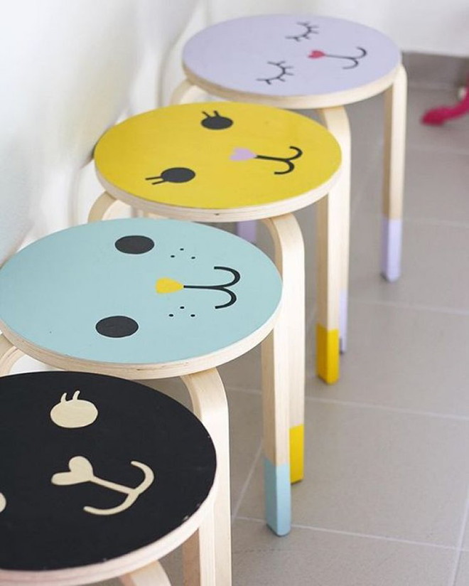 easy ikea stool hacks and makeovers for the nursery mum 39 s grapevine. Black Bedroom Furniture Sets. Home Design Ideas