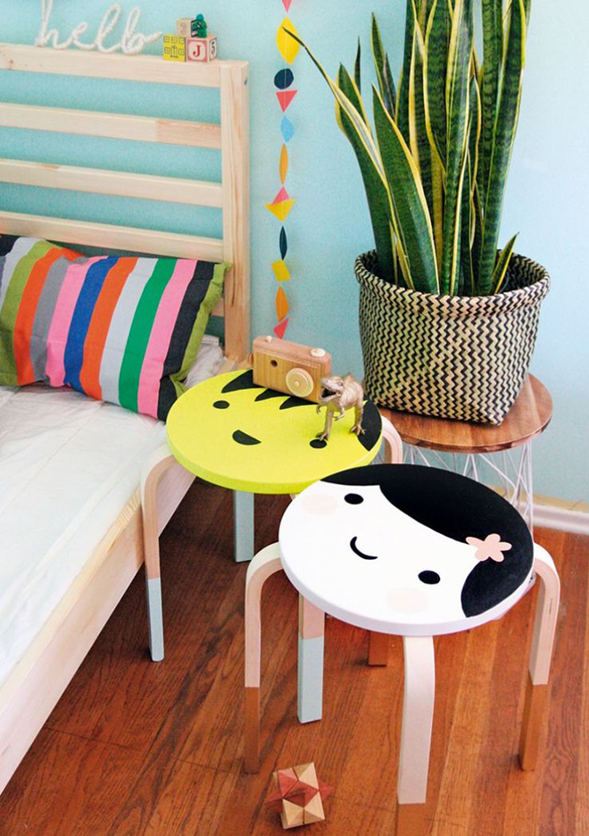 IKEA stool hacks painted faces