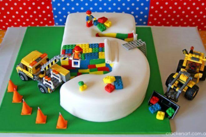 number 5 Lego cake