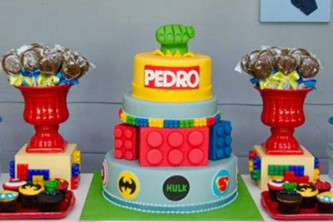 lego superhero three tier cake