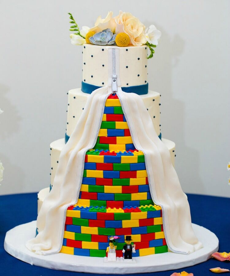 three tier lego wedding cake