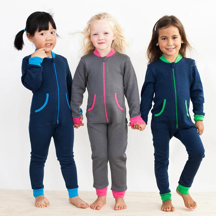 Merino onesie pyjamas for kids