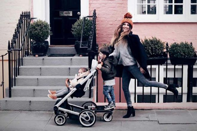 Mutsy Igo pram with toddler skateboard