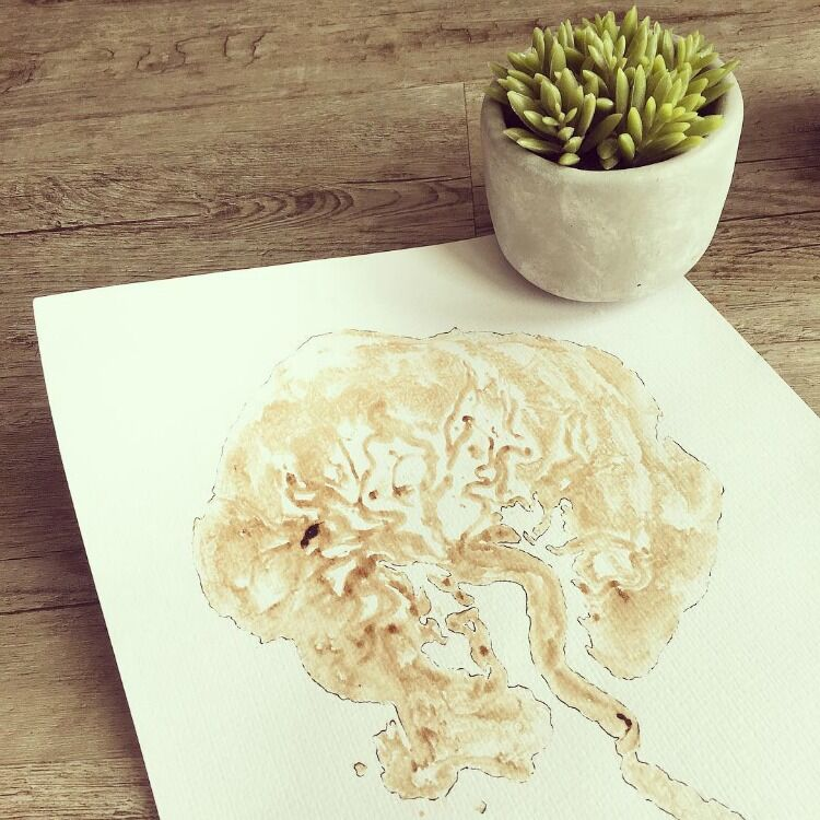 Placenta tree of life art on timber desk