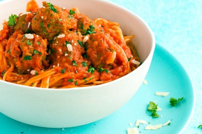 mini pork meatballs and pasta recipe with sneaky vegetables