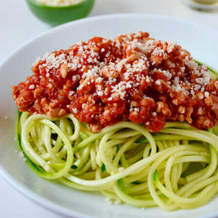 zucchini noodles and turkey bolognese by Just a Taste