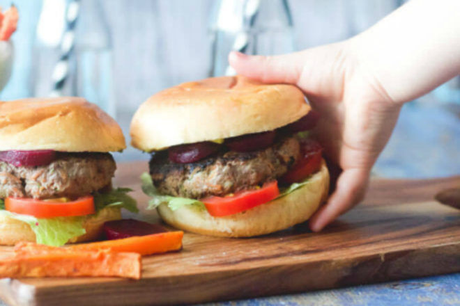 Veggie and meat burger patties by Healthy Little Foodies