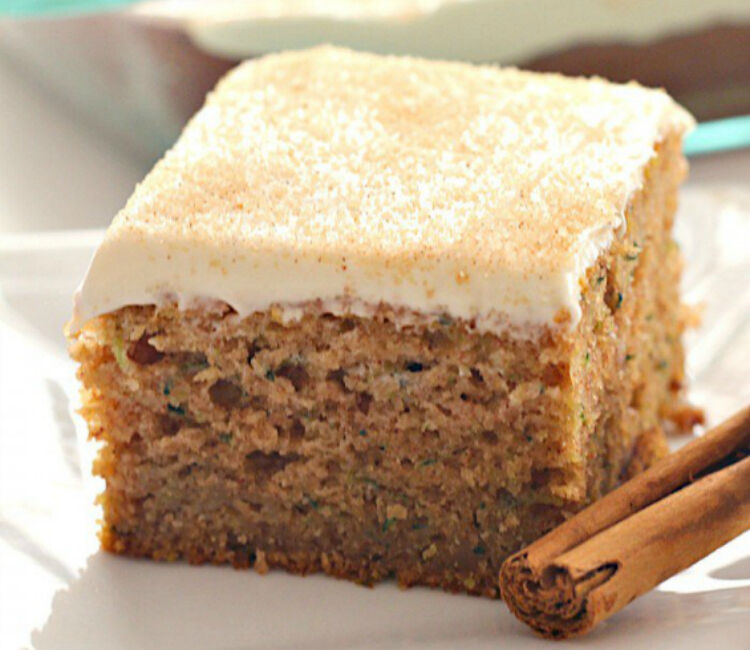 cinnamon and zucchini cake with cream cheese frosting by Six Sister's Stuff