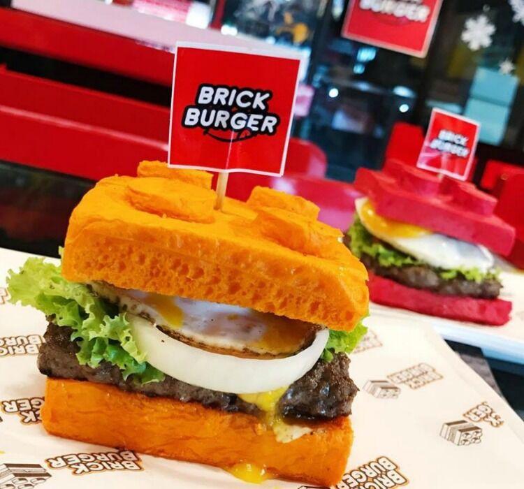 close up shot of burger at brick burger