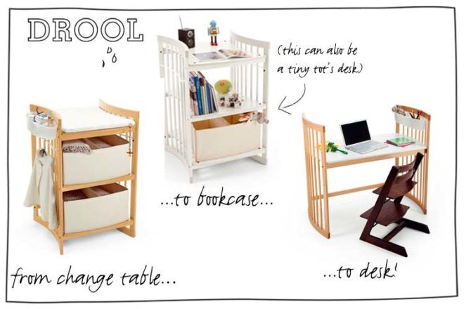 Stokke Care Changing Table converts to bookcase and desk