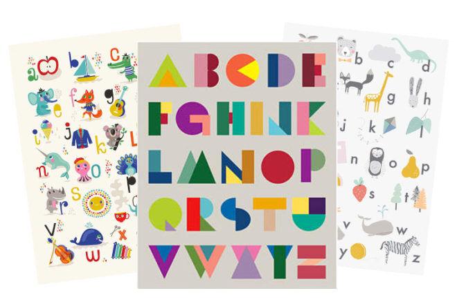 Round of ABC nursery posters