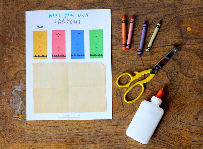 craft- make your own oliver jefferson crayons - printable