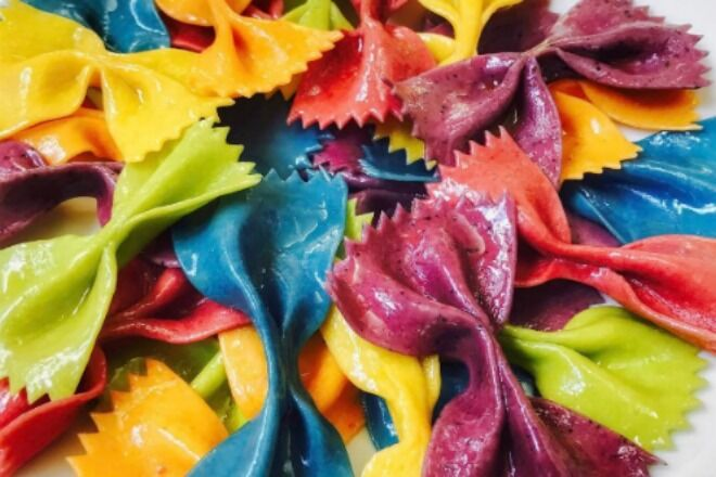 salty seattle rainbow bowtie pasta