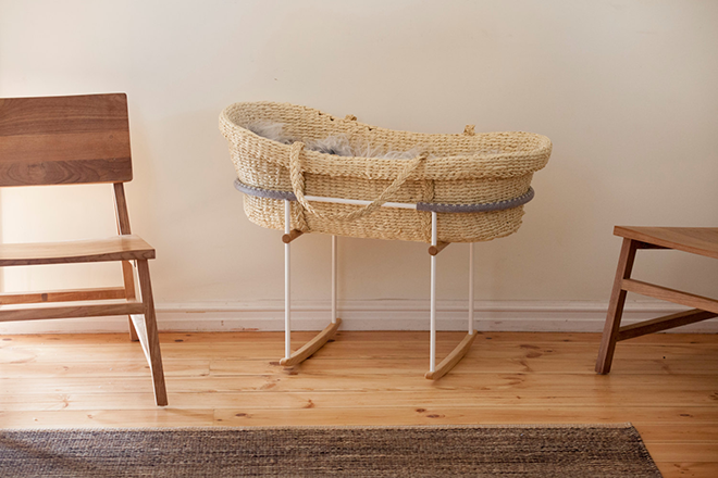 natural bassinet and baby rocker by Vas Kho.