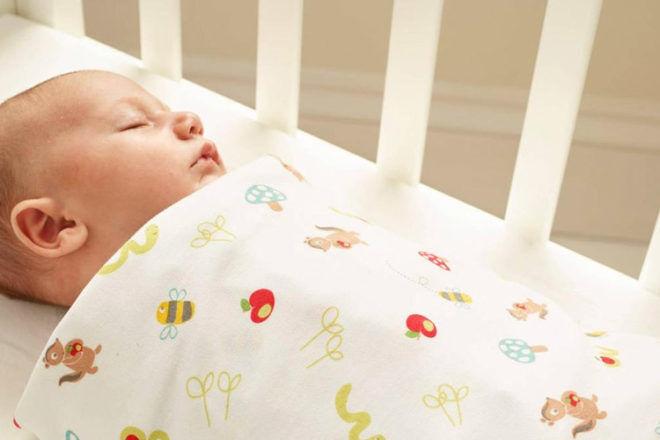 Newborn sleeping in an Apple of my Eye Gro Swaddle