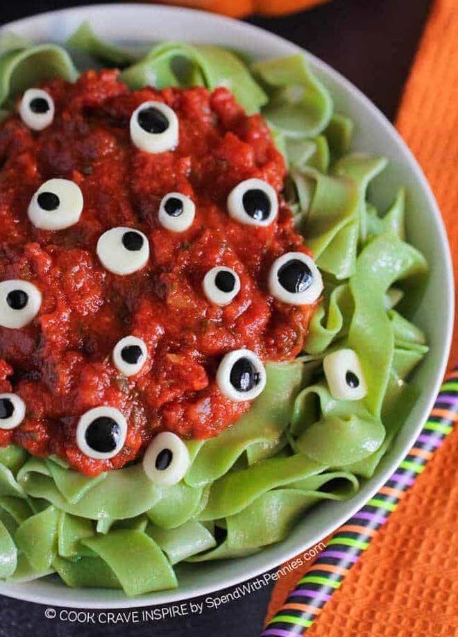 Halloween dinner ideas - Eyeball Pasta
