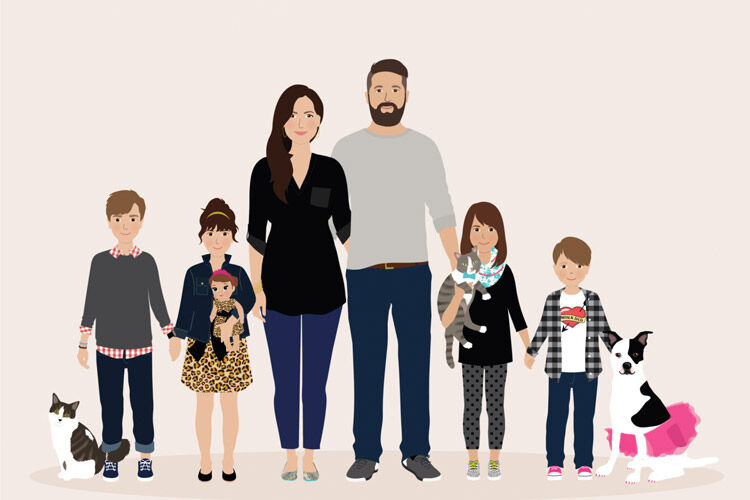 Henry James Paper Goods personalised family portraits