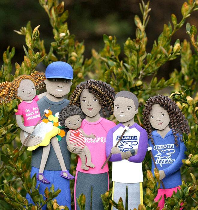Purple Paper People cutout family portraits