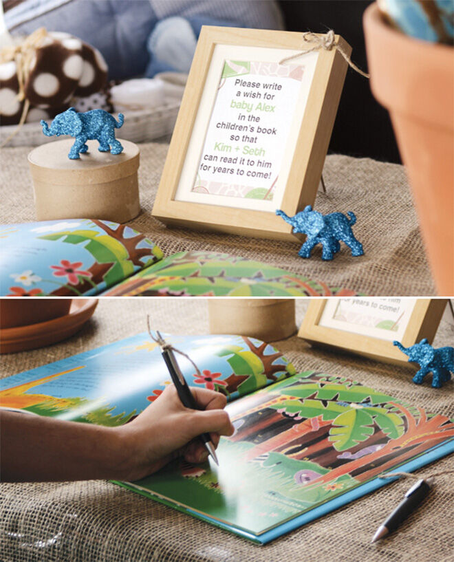 Use a picture book as a guest book for baby shower