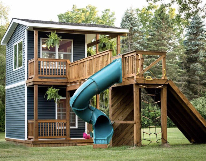 This double-storey, dad-built cubby house will blow your mind!