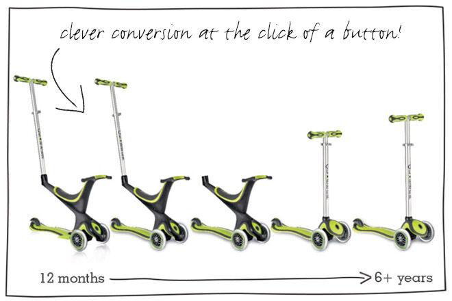 Globber EVO 5-IN-1 convertible scooters